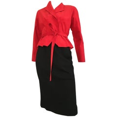 Halston 1970s Red Ultra Suede Peplum Jacket and Black Wool Pencil Skirt Size 4
