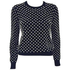Michael Kors Black Cashmere Pullover With Pearl Beads All over