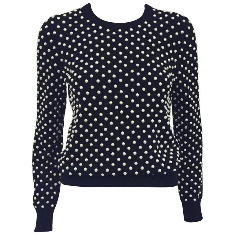 43cd8cb2d1ab Michael Kors Black Cashmere Pullover With Pearl Beads All over For Sale