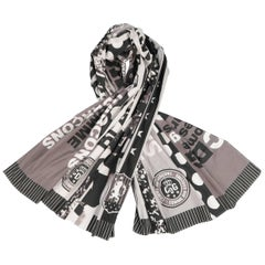 COMME des GARCONS BLACK Grey & Black Printed Cotton Blanket Scarf