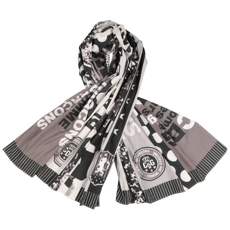 COMME des GARCONS BLACK Grey & Black Printed Cotton Blanket Scarf For Sale
