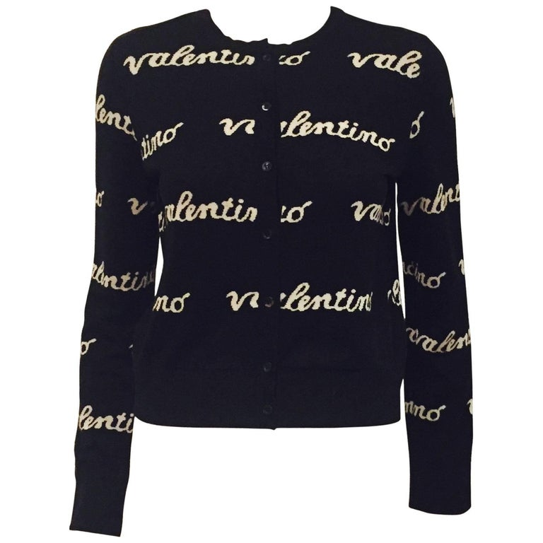 Valentino Knit Wool Blend Black And White Cardigan