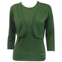 Autumn Green Oscar de la Renta's Knit Cashmere & Silk Twin Set