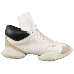 RICK OWENS Adidas Size 10.5 White & Black Leather Split Sole Sneakers
