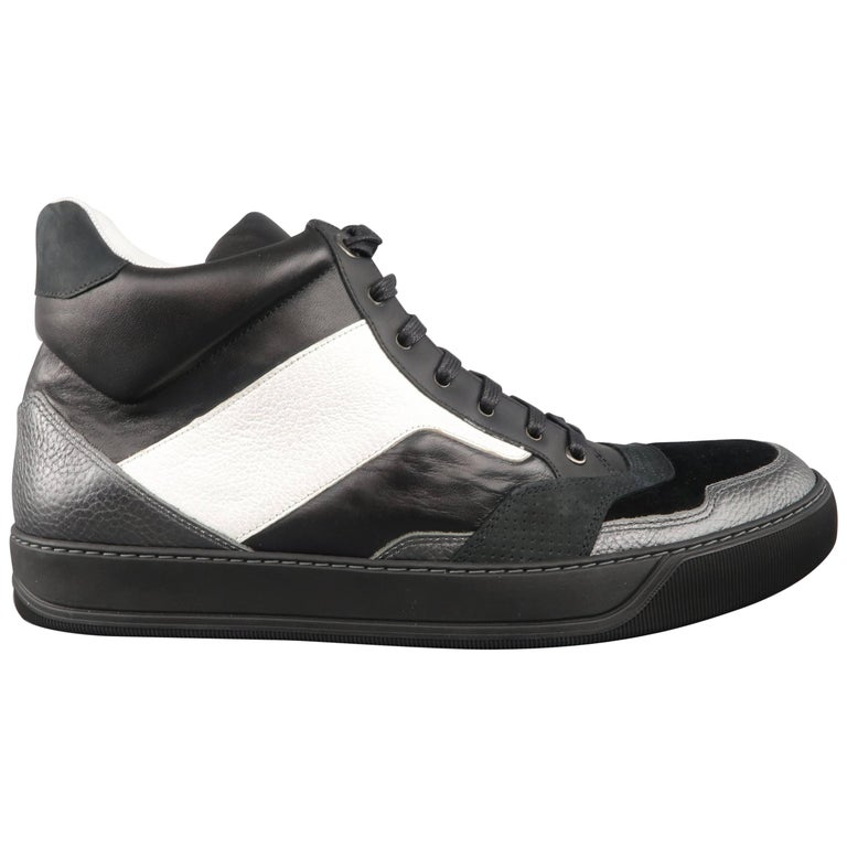 Men's LANVIN Size 12 Black & White Two Toned Leather High Top Sneakers