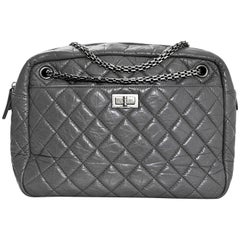 Chanel Grey Quilted Aged Calfskin Leather Large Reissue 2.55 Camera Case Bag