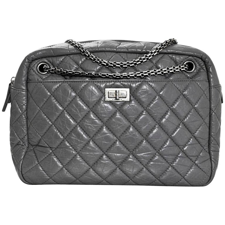 2f33b491c94f Chanel Grey Quilted Aged Calfskin Leather Large Reissue 2.55 Camera Case  Bag For Sale