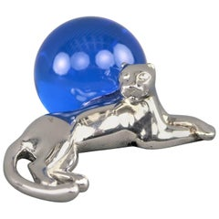 CARTIER Sterling Silver Panthere & Blue Crystal Ball Paperweight