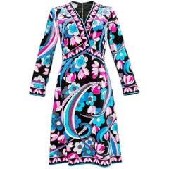 70s Pucci Velveteen Floral Print Dress