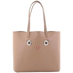 Fendi Faces Roll Tote Embellished Leather Large