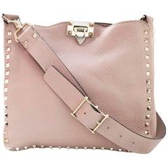 Valentino Blush Leather Rockstud Small Hobo Messenger Bag with DB