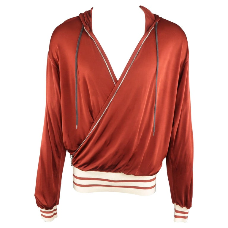 GAULTIER2 JEAN PAUL GAULTIER M Burgundy Rayon Wrap Hoodie Jacket