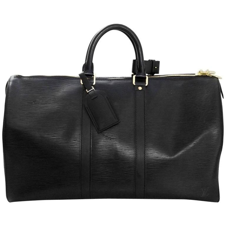 fccac1c2dfb6 Louis Vuitton Black Epi Leather Keepall 45 Duffle Travel Bag For Sale
