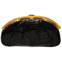 Rare Judith Leiber Alligator and Bone Clutch