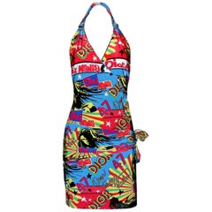 Christian Dior by John Galliano Reggae Rastafari Marley Print Neckholder Dress