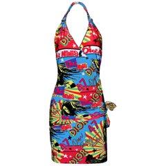 Christian Dior von John Galliano Reggae Rastafari Marley Aufdrucke Neckholder Kleid