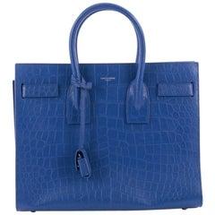 Saint Laurent Sac de Jour NM Handbag Crocodile Embossed Leather Small