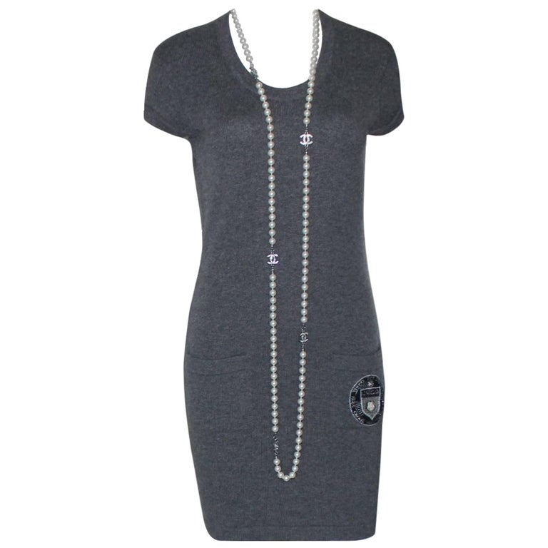 Classy Chanel Charcoal Cashmere Knit Signature Dress Camellia Coco Chanel Paris