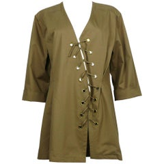 Yves Saint Laurent YSL Iconic Vintage Cotton Safari Tunic Dress, 1990s