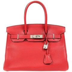 Hermes Rouge H Togo Leather 30 cm Birkin with Palladium Hardware
