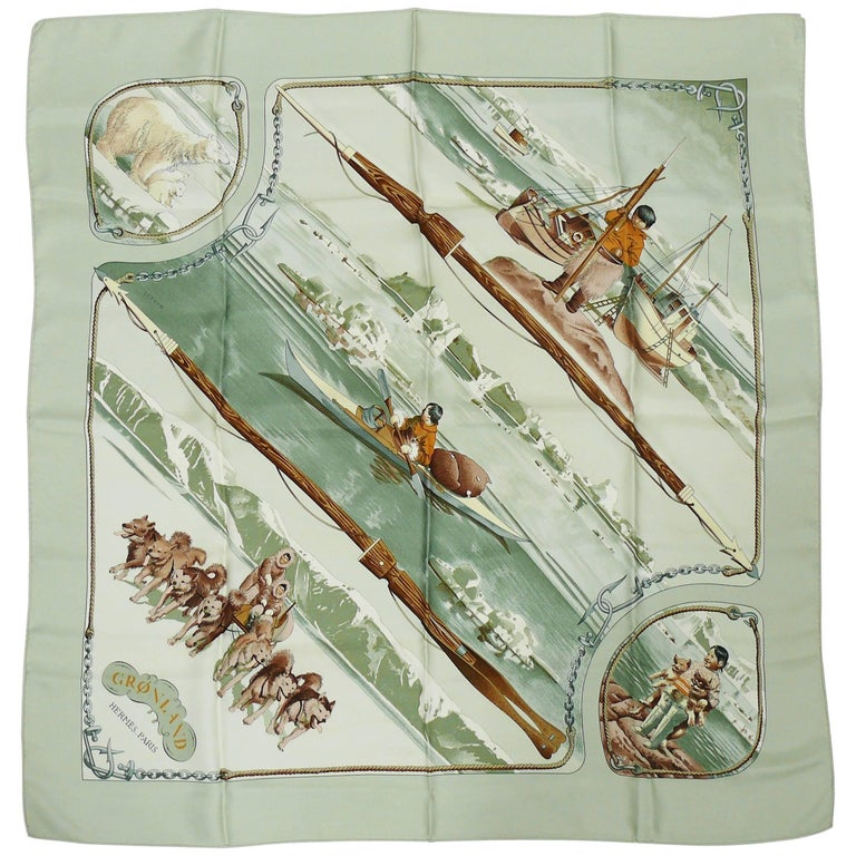 """Hermes Vintage Silk Carre Scarf """"Gronland"""" by Philippe Ledoux For Sale"""