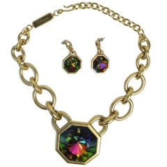 Yves Saint Laurent Ltd Ed Iridescent Crystal Necklace and Earrings Set, 1980s