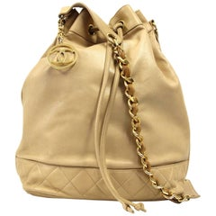 1990s Chanel Beige Leather Sack Bag