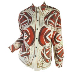 Hermes Printed Cotton Blouse