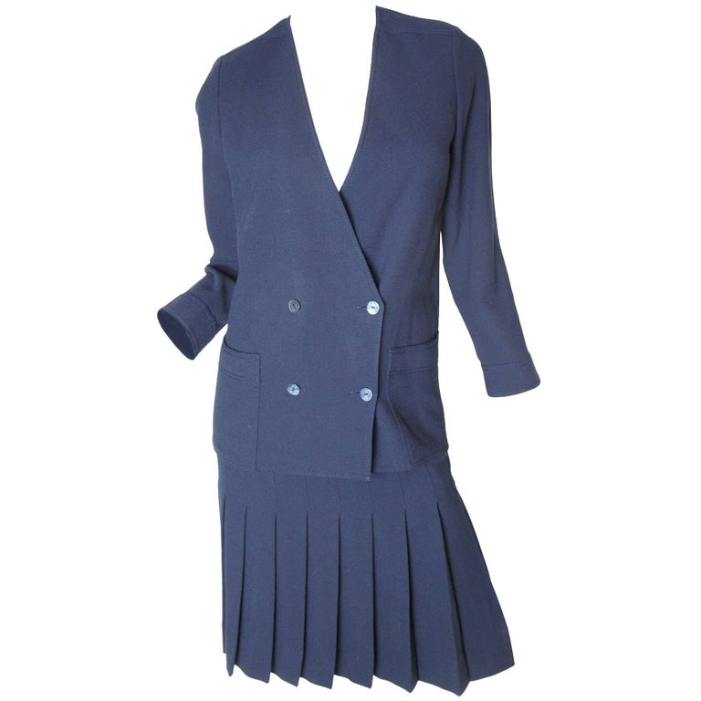 Chanel Navy Double Breasted Jacket and Pleated Skirt