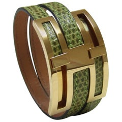 Hermes Pousse Pousse Bracelet Light Green Lizard Golden Hardware