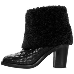 Chanel Black Quilted Shearling Ankle Boots Sz 37