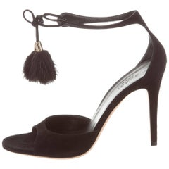 Gucci New Black Fur Pom Pom Evening Sandals Heels in Box
