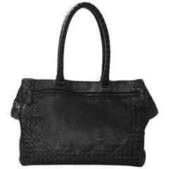Bottega Veneta Black Woven Intrecciato and Smooth Leather Tote Bag
