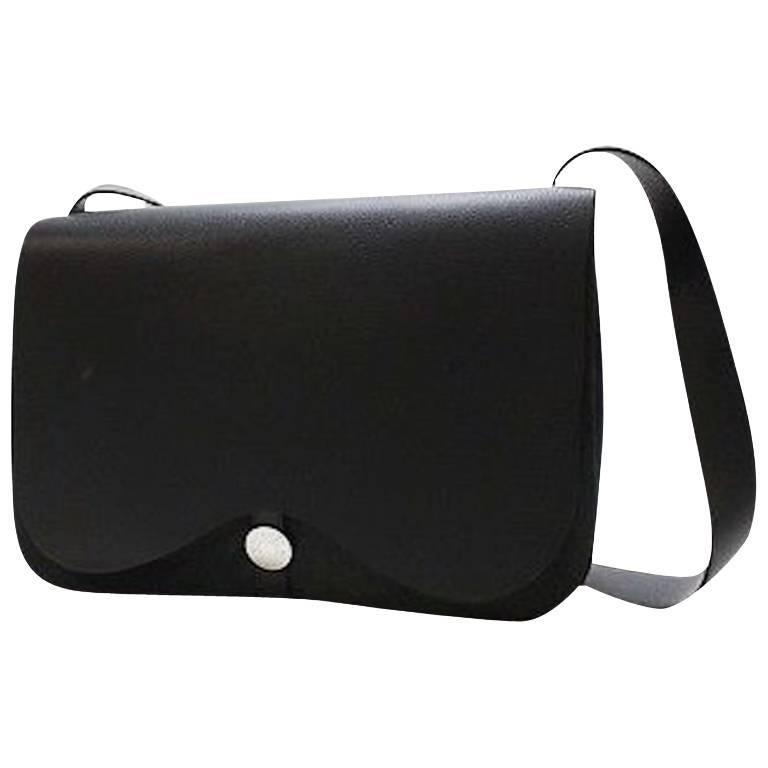 Hermes Black Leather Twill Top Handle Evening Shoulder Flap Bag in Box