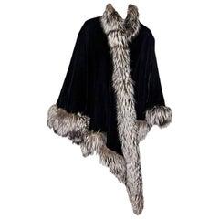 J. Mendel Vintage Black Velvet Cape