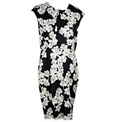 Erdem Black and White Floral Sheath Dress