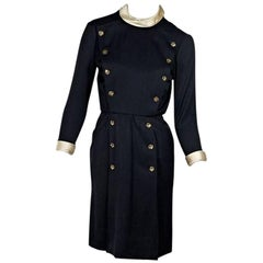 Chanel Navy Blue Vintage Double-Breasted Dress