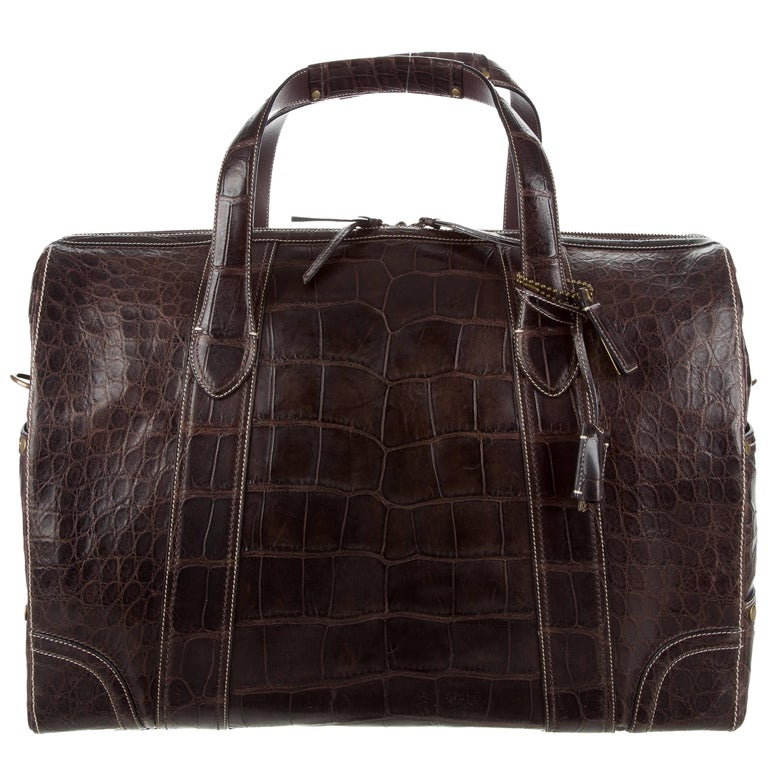 Coach Crocodile Chocolate Brown Men s Carryall Weekender Travel Tote Duffle  Bag For Sale 4960c8f7ad550