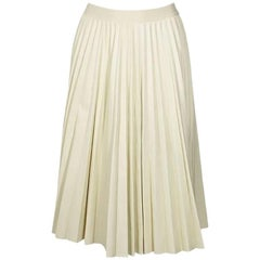 Theory Pleated Ivory Leather Skirt