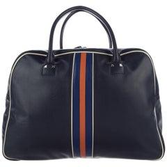Valentino New Blue Leather Men's Travel Weekender Duffle Shoulder Tote Bag