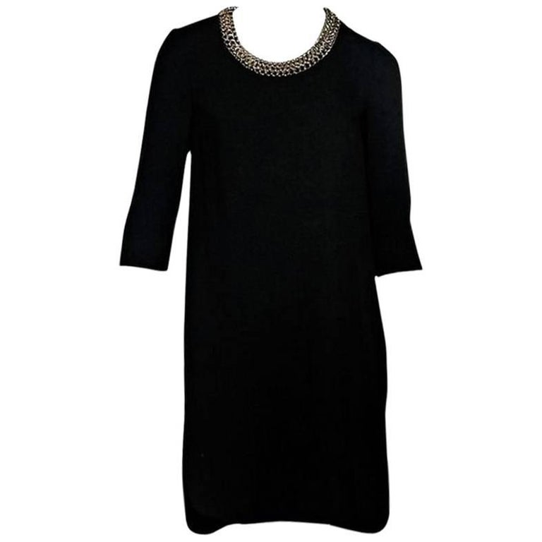 Black Burberry Chain-Trimmed Dress