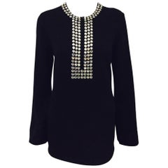 Marvelous Michael Kors Black Cashmere Sweater with Crystal Adornment on Neckline