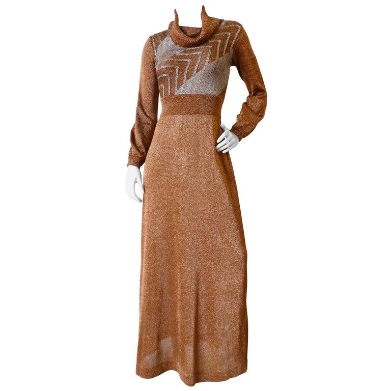1970s Wenjilli Metallic Lurex Maxi Gown For Sale