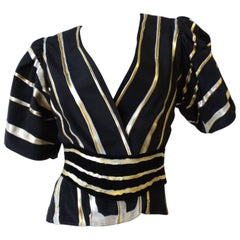 1980s  I. Magnin Hand-Painted Striped Blouse