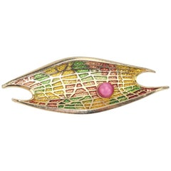 Circa 1970 Abstract Modernist Gold Tone Brooch With Pink Cabochon