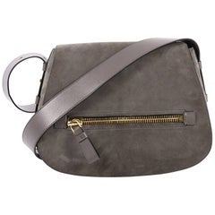 Tom Ford Jennifer Soft Saddle Bag Suede with Leather Medium
