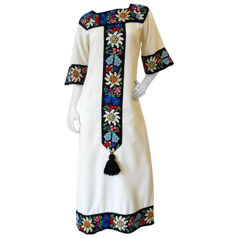 1970s Embroidered Tassel Maxi Dress For Sale