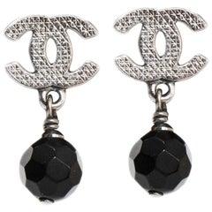 Chanel CC Black Drop Pierced Earrings with Box