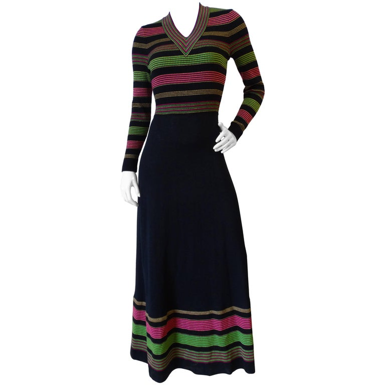 1970s Saks Fifth Avenue Lurex Knit Striped Dress For Sale