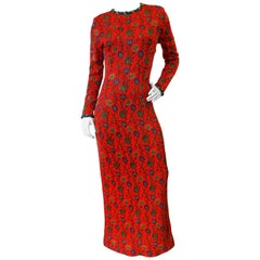 1970s Lurex Floral Maxi Dress